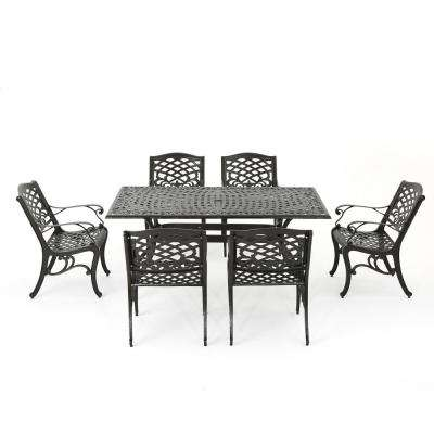 Sarasota Bronze 7 Piece Aluminum Rectangular Outdoor Dining Set