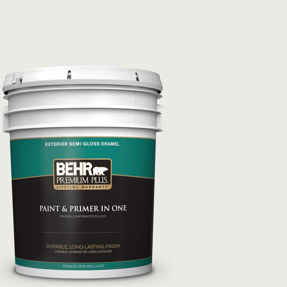 BEHR Premium Plus 5 gal. #52 White Semi-Gloss Enamel Exterior ...