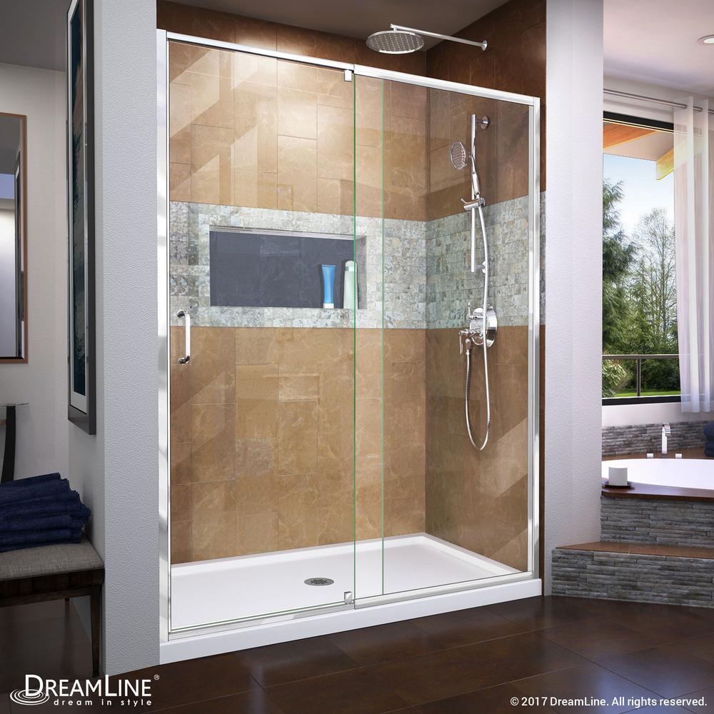 Flex 56 to 60 in. x 72 in. Framed Pivot Shower Door in Chrome