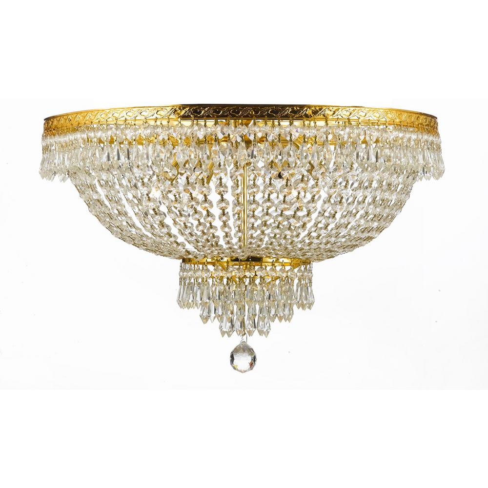 Harrison Lane French Empire Crystal 30 In 14 Light Gold Flush Mount Chandelier