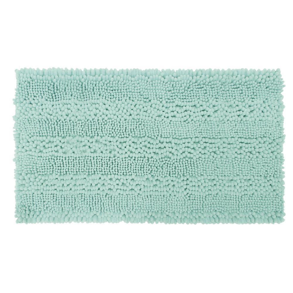 Astor Striped Chenille Aqua 17 in. x 24 in. Plush Bath