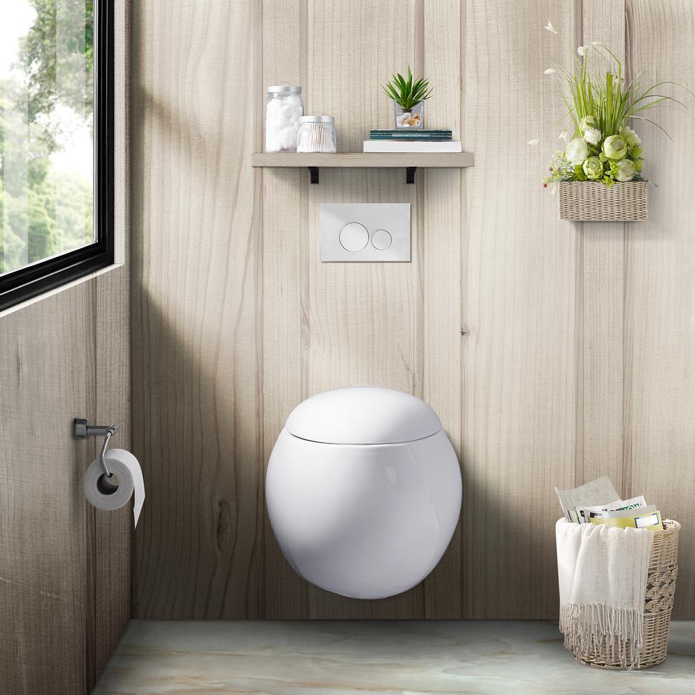 0.8/1.28 GPF Plaisir Wall Hung Dual Flush Elongated Toilet Bowl in White