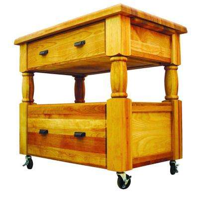 Island Europa Natural Kitchen Cart With Storage