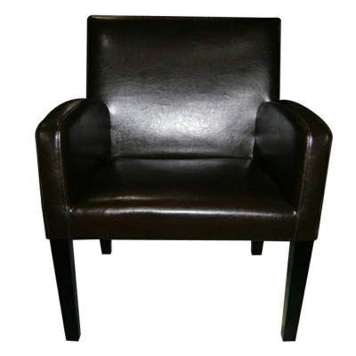 Amalee Brown Bonded Leather and Stained Dark Brown Wood Side Chair