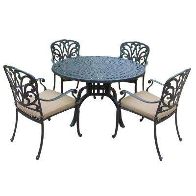 Cast Aluminum 5 Piece Round Patio Dining Set With SpunPoly Beige Cushions