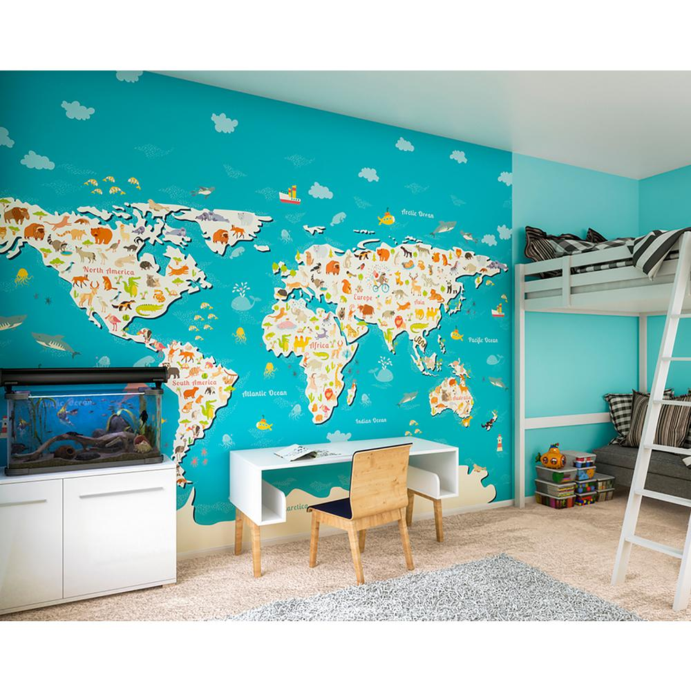 world map wall mural canada ohpopsi animals of the world map wall mural muralwals0340 home depot
