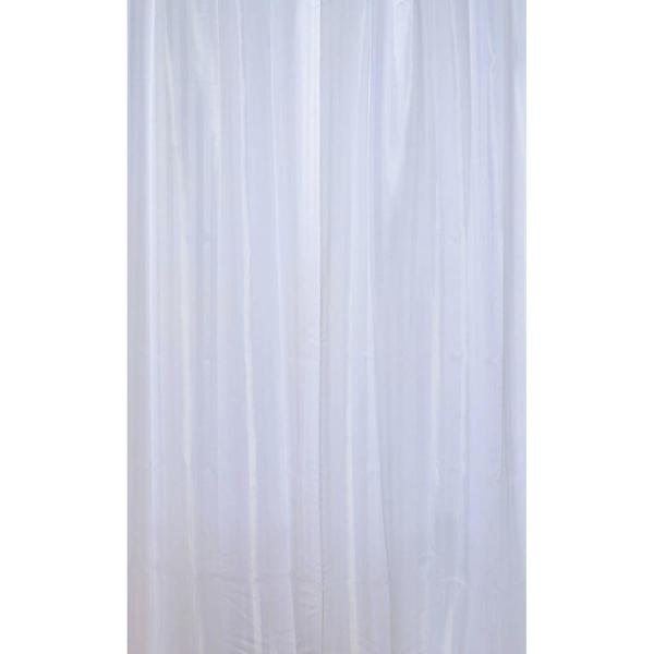 Stripes Vertical Polyester Fabric Shower Curtain White 1201100