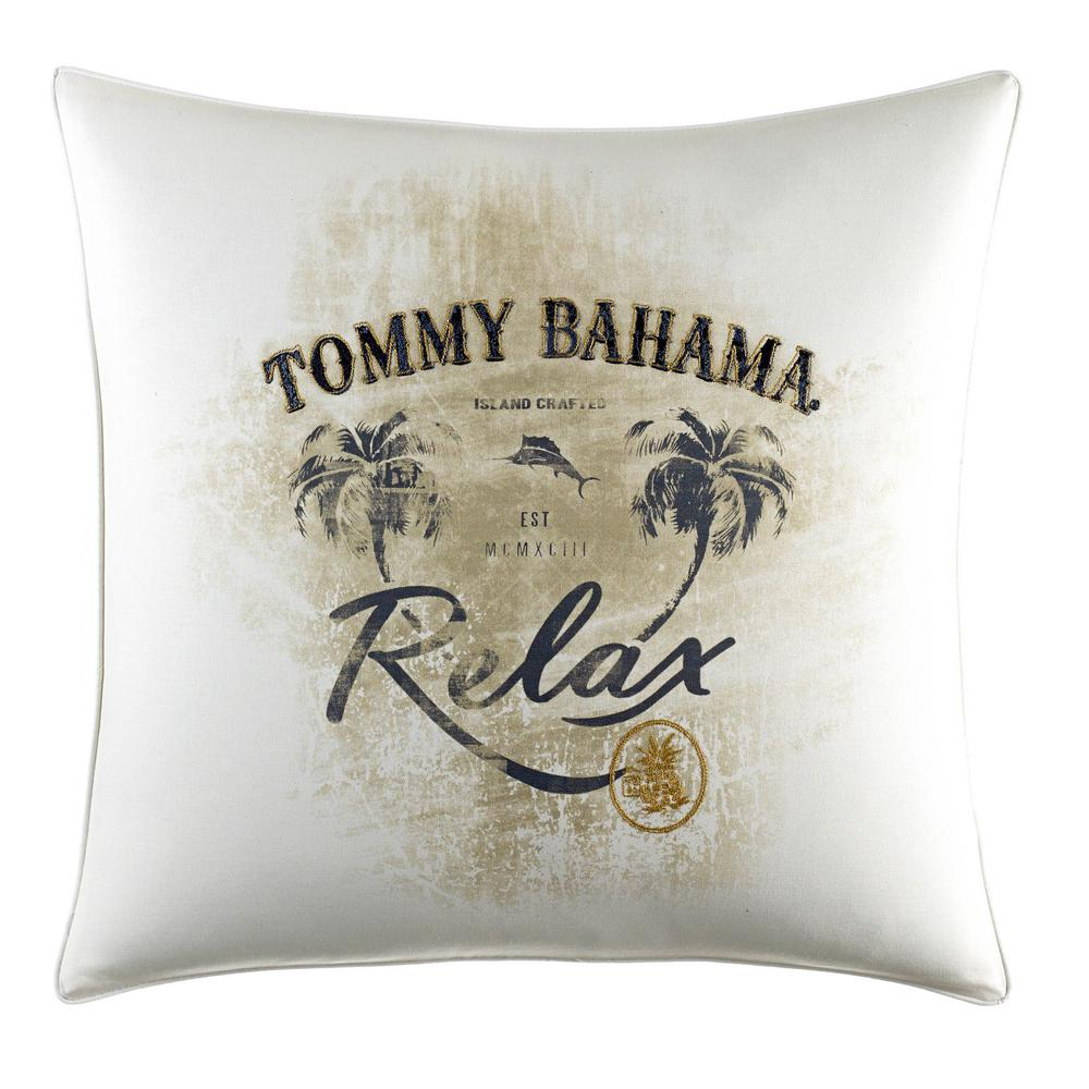 Palms Away Relax 20 in. x 20 in. Throw Pillow, Beige Play up the island lifestyle with the Palms Away square accent pillow featuring Tommy Bahama's signature logo and most-favorite state of mind. This relaxing pillow will look great anywhere you lay it. Add it to your current bedding ensemble or coordinate it back to the rest of the Palms Away Collection. Pillow is 100% Cotton and features a zipper closure. Pillow (20 in. x 20 in.). Color: Beige.