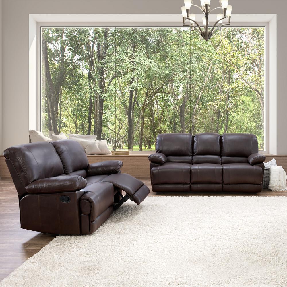 2pc Plush Reclining Chocolate Brown Bonded Leather Sofa Set