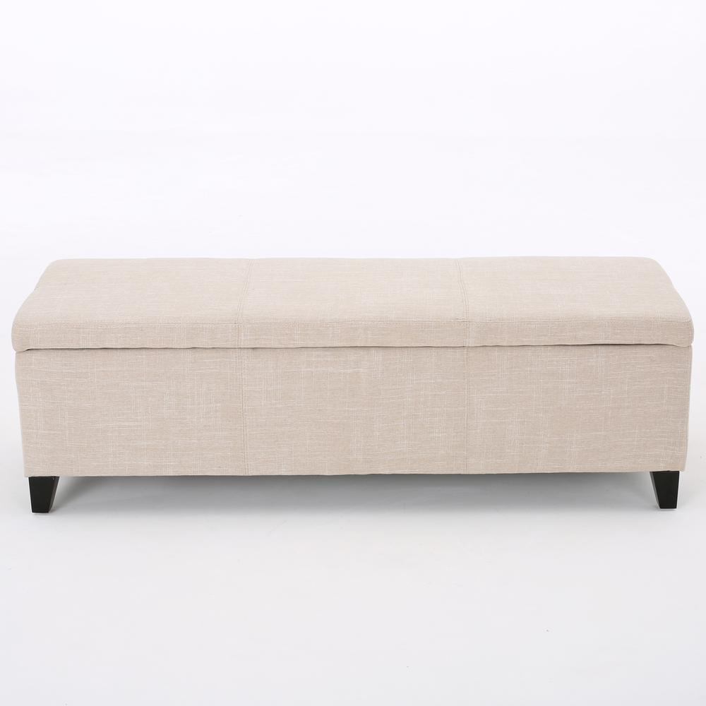 Noble House Glouser Light Beige Fabric Storage Bench-11 - The Home Depot