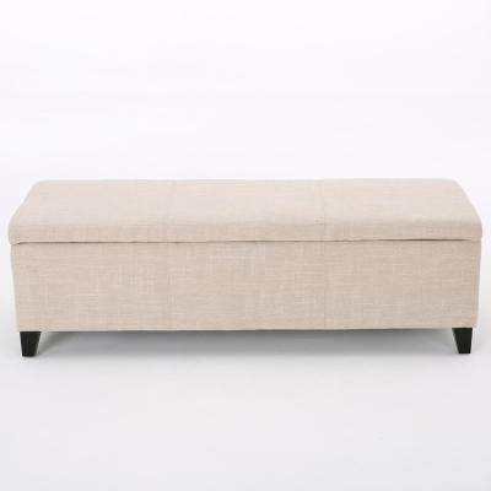 Glouser Light Beige Fabric Storage Bench