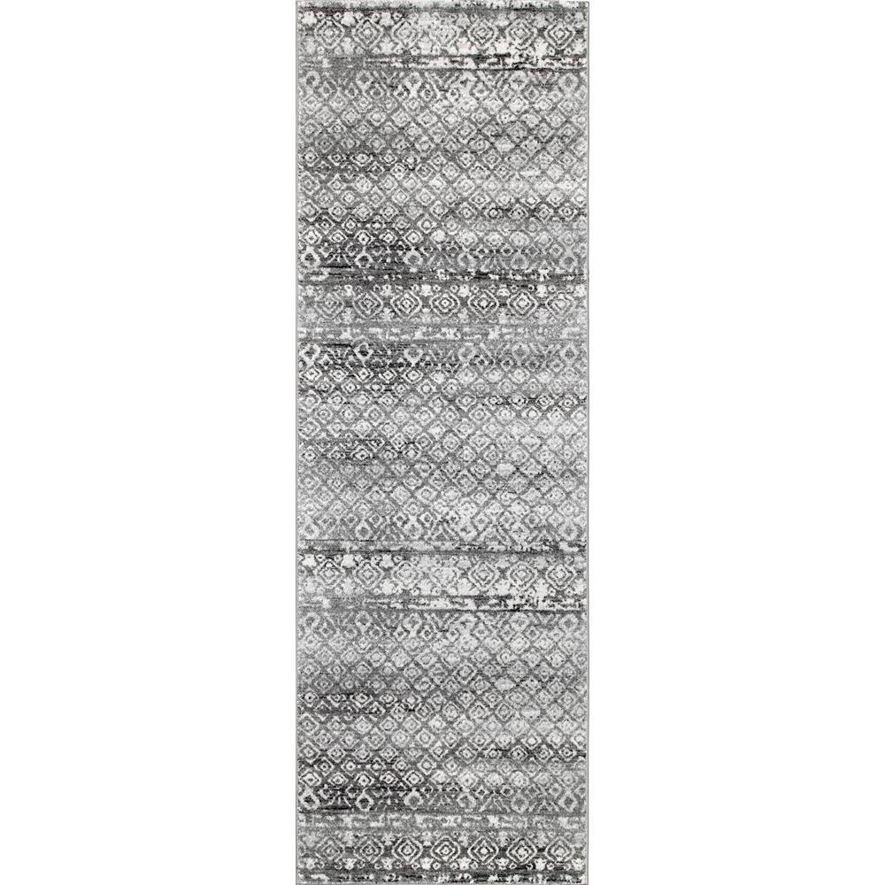 Vintage Lattice Hildegard Dark Grey 2 ft. 8 in. x 8 ft. Runner Rug