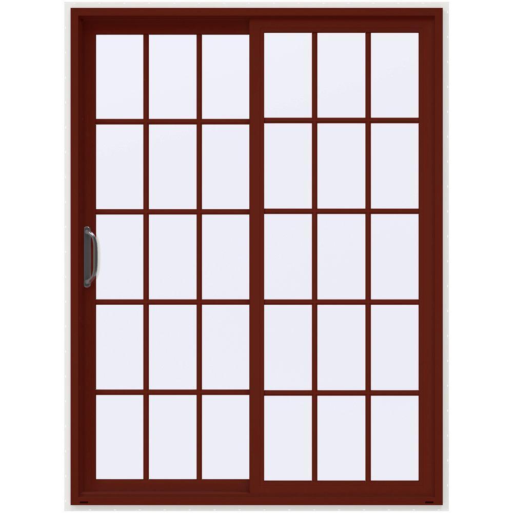 Jeld wen 60 in x 80 in v 4500 mesa red prehung left hand for 15 light interior door white