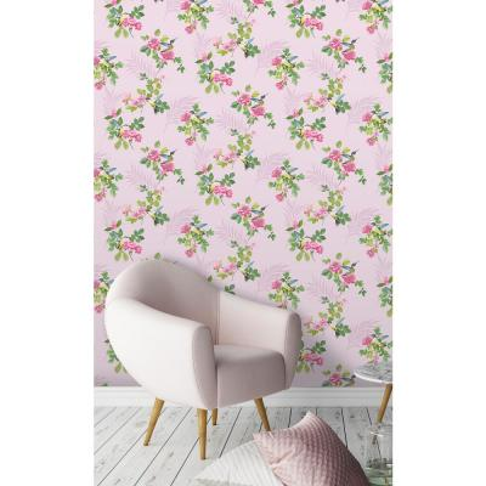 Juniper Pink Botanical Wallpaper