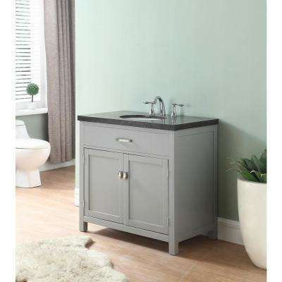 Newport 34 in. W x 21 in. D Vanity in Gray with Marble Vanity Top in Blue Gray with White Basin
