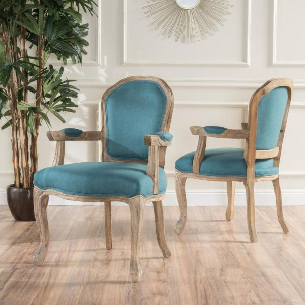 Noble house paxton dark teal fabric armchairs with natural - Dark teal accent chair ...