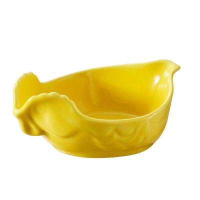 French Classics 13.5 in. Porcelain Chicken Roaster in Seychelles Yellow