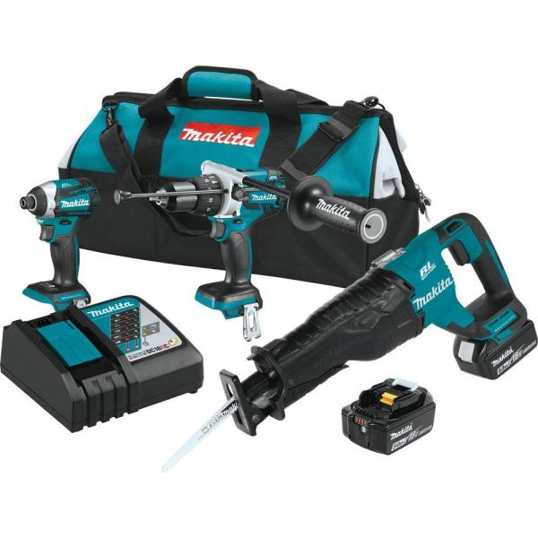 18-Volt LXT 5.0Ah Lithium-Ion Brushless Cordless Combo Kit (Hammer Drill/Impact Driver/Recipro Saw)