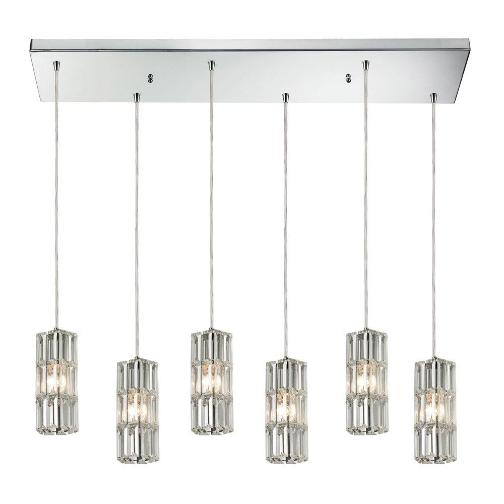 Titan Lighting Brussels Collection 6 Light Polished Chrome Mini Pendant