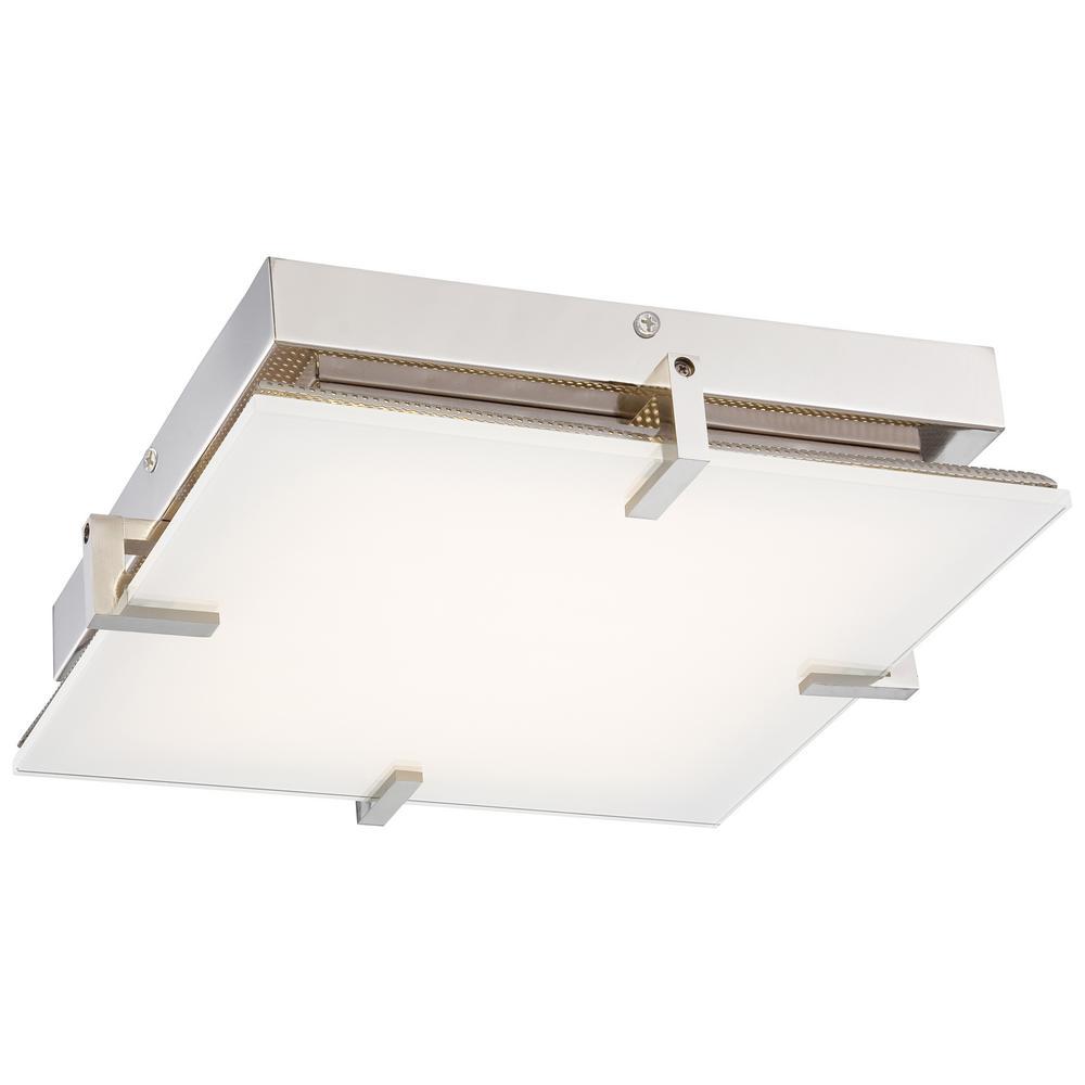 Hooked 75-Watt Equivalent Polished Nickel Integrated LED Flush Mount
