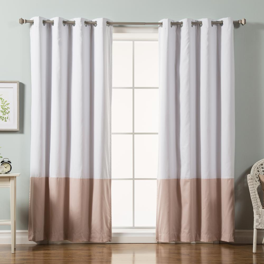 Best Home Fashion 84 in. L Pink Color Block Cotton Blend Blackout Curtains in White (2-Pack)