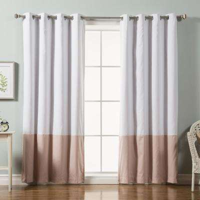 84 in. L Pink Color Block Cotton Blend Blackout Curtains in White (2-Pack)