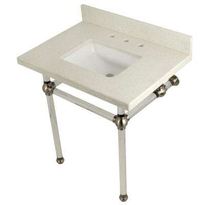Square-Sink Washstand 30 in. Console Table in White Quartz with Acrylic Legs in Satin Nickel