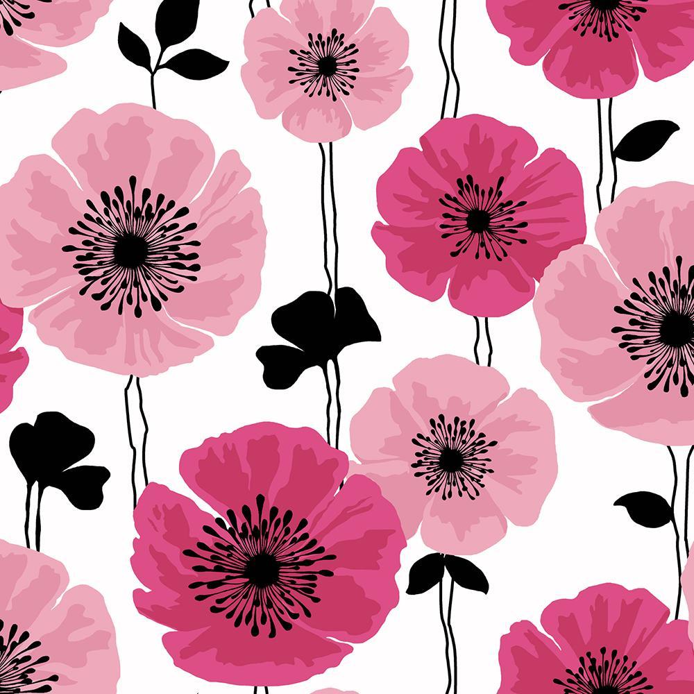 Brewster 8 In X 10 In Darcy Magenta Modern Floral Wallpaper