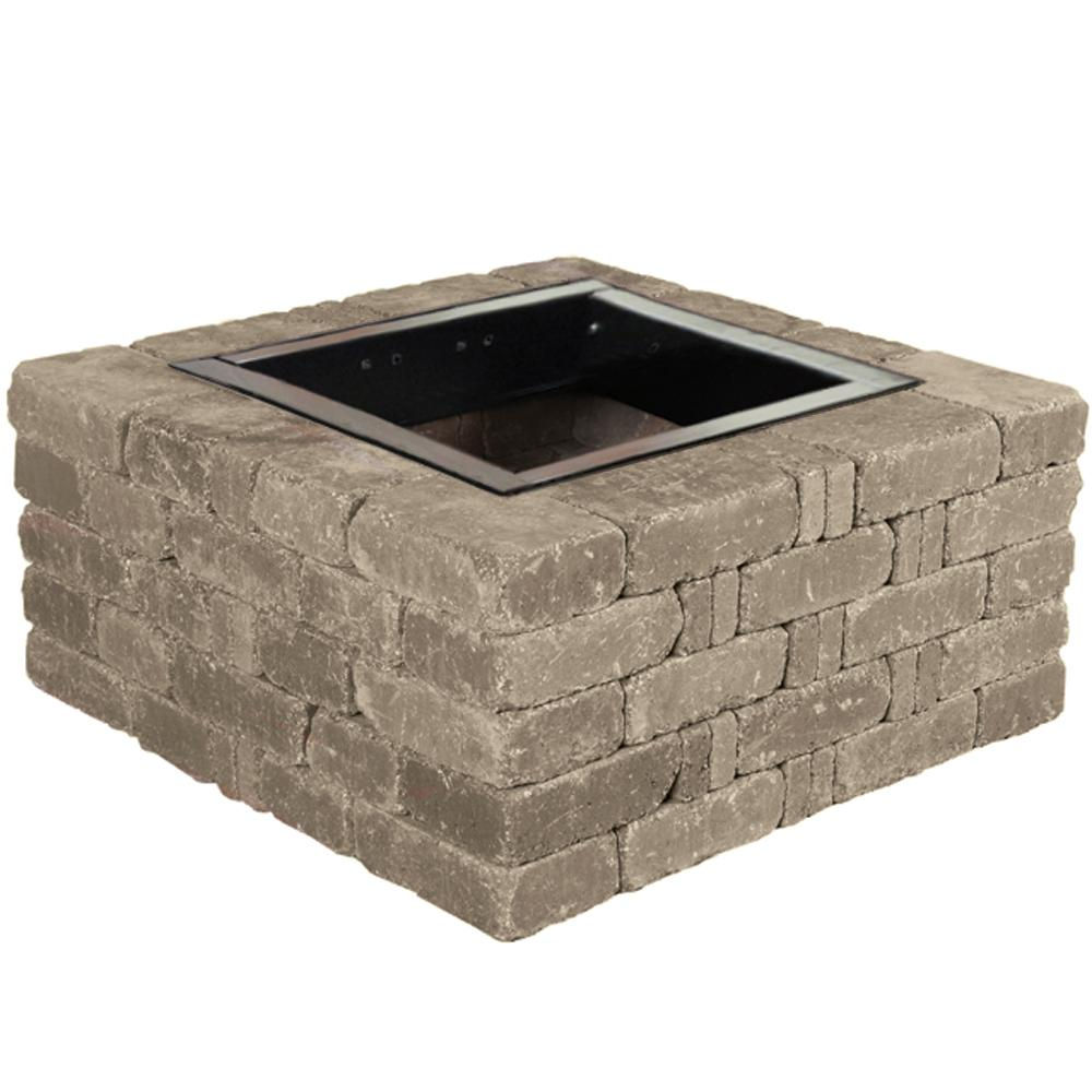 Rumblestone 38 5 in x 17 5 in square concrete fire pit kit