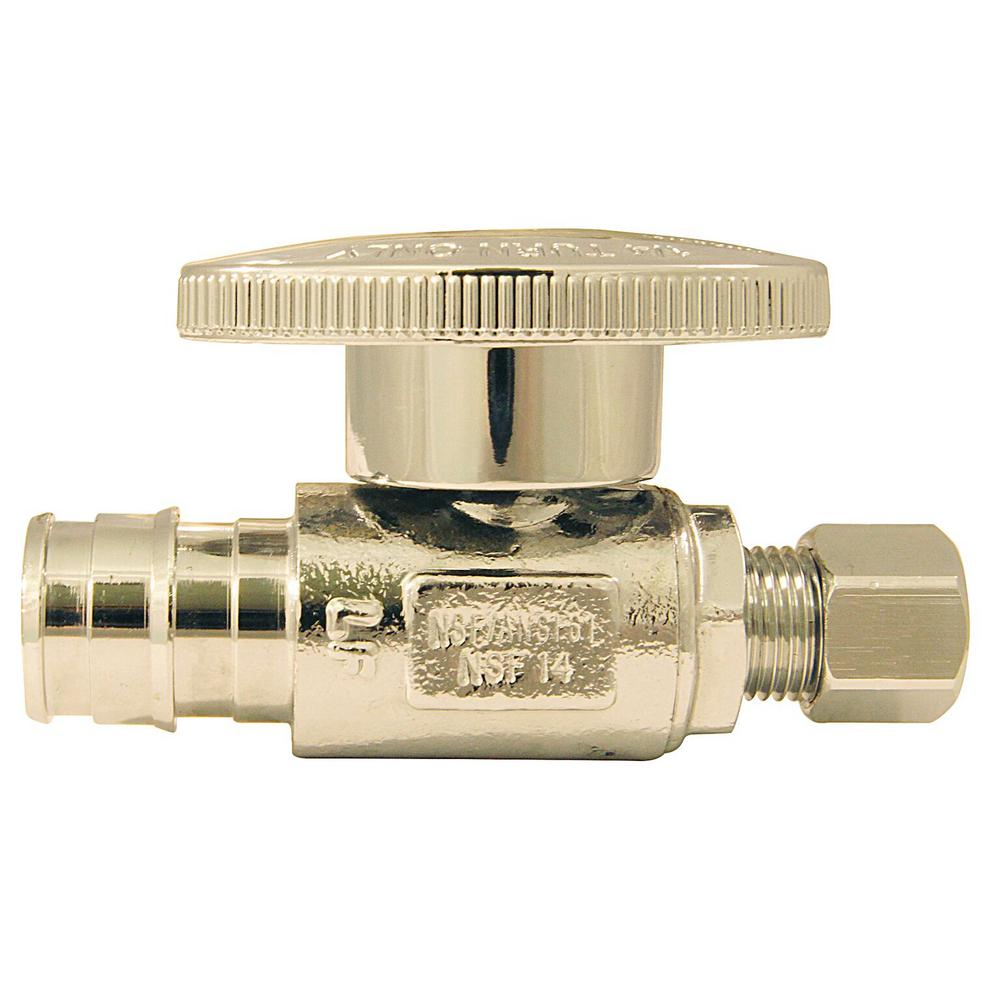 1/2 in. Chrome-Plated Brass PEX-A Expansion Barb x 1/4 in. Compression
