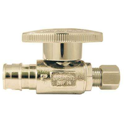 1/2 in. Chrome-Plated Brass PEX-A Expansion Barb x 1/4 in. Compression Quarter-Turn Straight Stop Valve