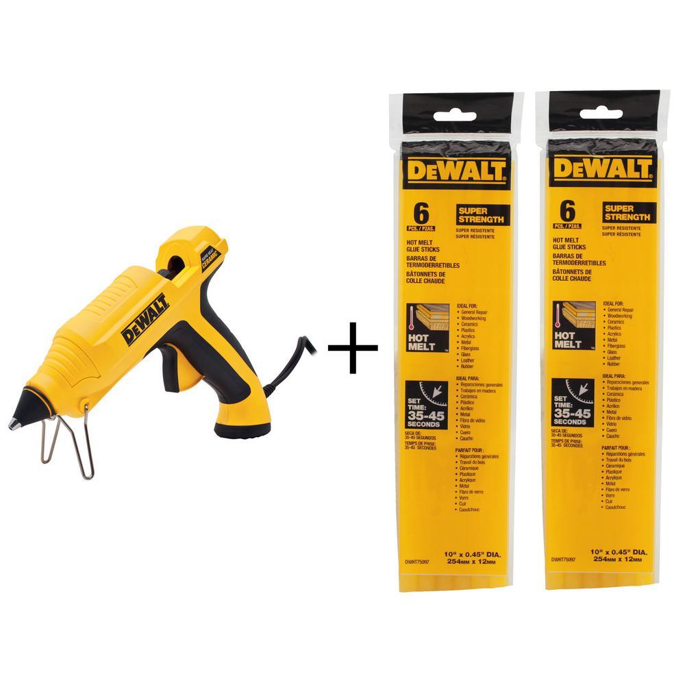 DEWALT 10 in. x 7/16 in. Dia Hot Melt Full Size Glue Sticks Ceramic Rapid Heat Full Size Glue Gun with Bonus (12-Pack)