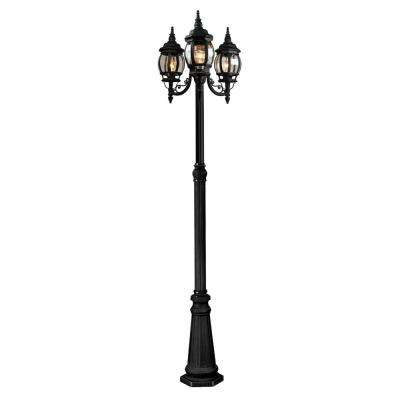 3-Light Black Outdoor Wall Mount Sconce