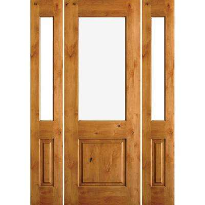 64 in. x 96 in. Rustic Alder Half Lite Clear Low-E IG Unfinished Wood Right-Hand Inswing Prehung Front Door/Sidelites