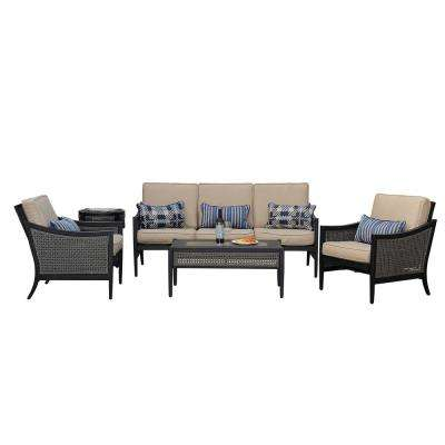 bentley 5 piece patio deep seating set with beige cushions - Home Depot Patio Furniture Clearance