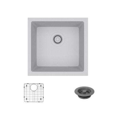 Dual-mount Composite Granite 17-3/4 in. Single Bowl Kitchen Sink in Pewter