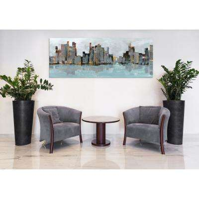 """63 in. x 24 in. """"Second City Abstract Chicago Skyline"""" Frameless Free Floating Tempered Glass Panel Graphic Art"""