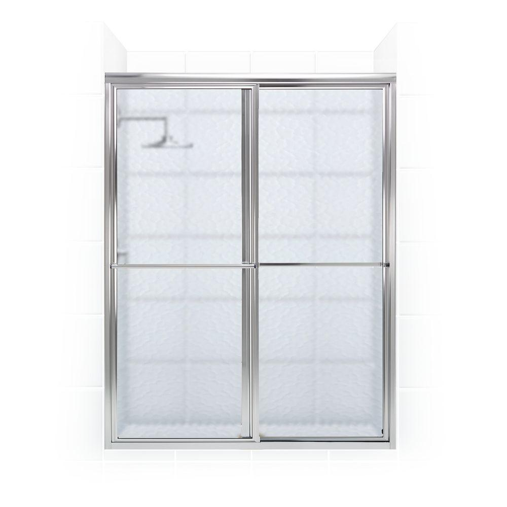 Coastal Shower Doors Newport Series 52 in. x 70 in. Framed Sliding Shower Door with Towel Bar in Chrome and Aquatex Glass