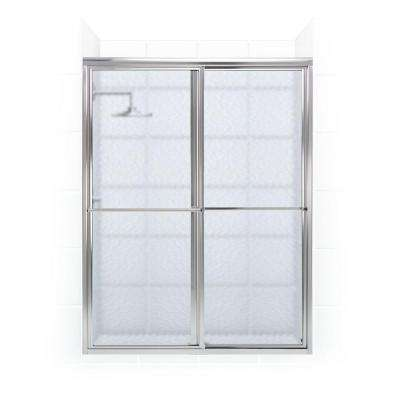 Newport Series 64 in. x 70 in. Framed Sliding Shower Door with Towel Bar in Chrome and Aquatex Glass