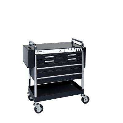 20 in. 5-Drawer Heavy Duty Utility Cart in Black
