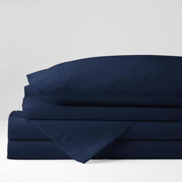 The Company Store Company Cotton 4 Piece Navy Solid 300 Thread Count Cotton Percale California King Sheet Set 50652l Ck Navy The Home Depot