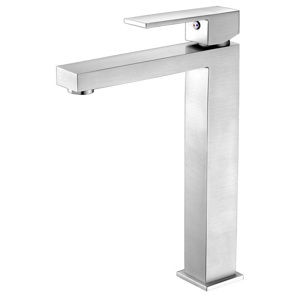 Enti Series Single Hole Single-Handle Vessel Bathroom Faucet in Brushed Nickel