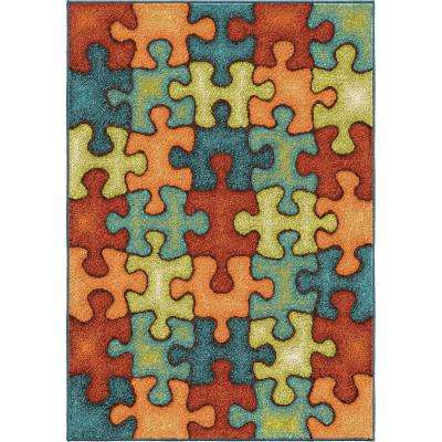 Perplexed Puzzle Multi 5 ft. x 8 ft. Indoor Area Rug