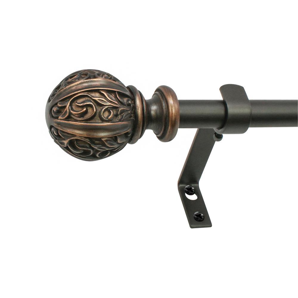 48 in. - 86 in. Core Leaf Ball Telescoping 5/8 in. Drapery Rod Set in Vintage Bronze