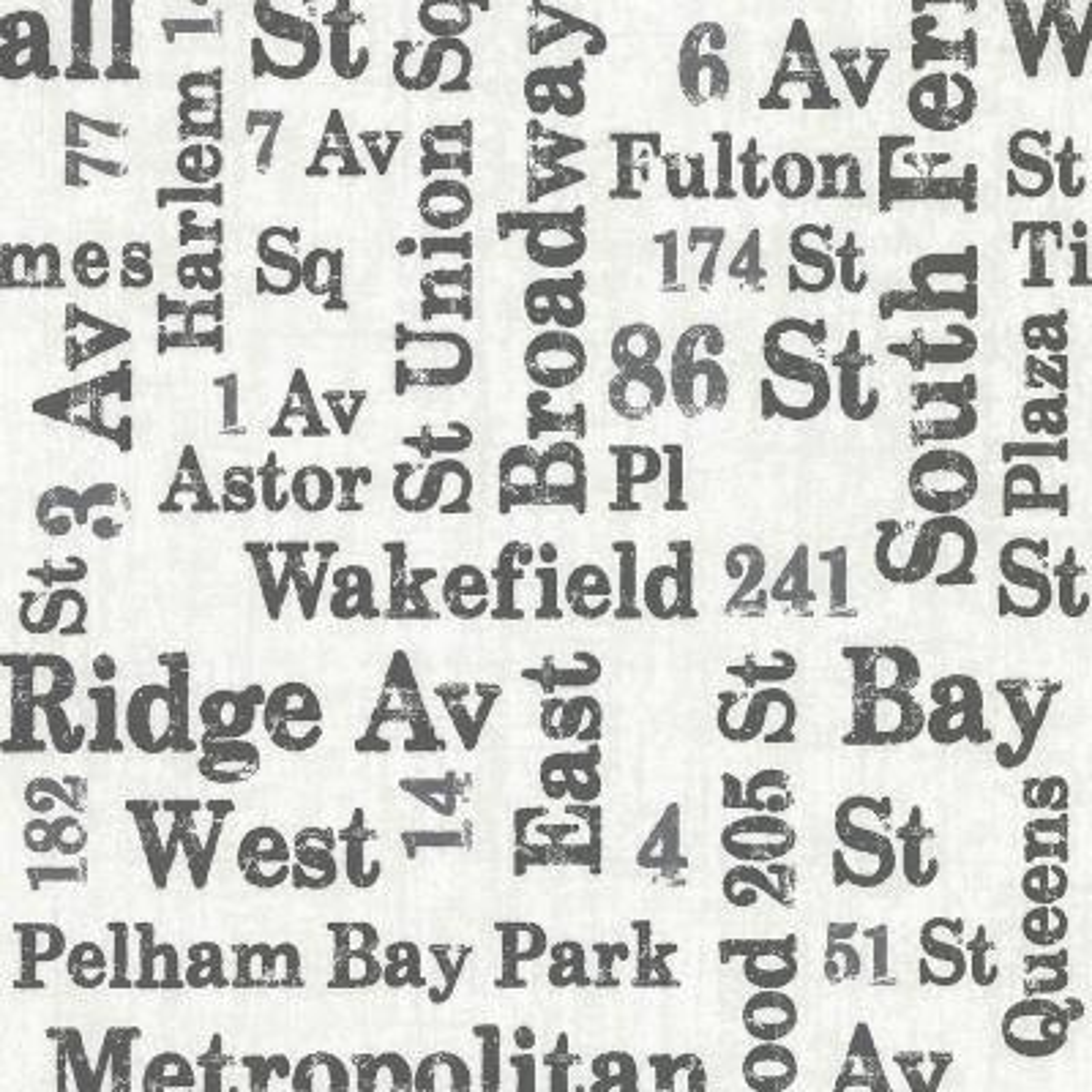 56.4 sq. ft. Ellis Black Typography Wallpaper