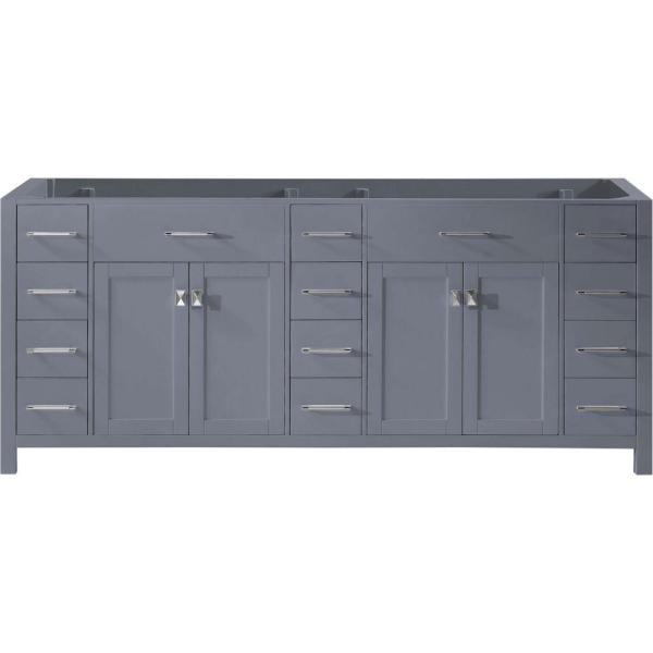 Caroline Parkway 78 in. W Bath Vanity Cabinet Only in Gray