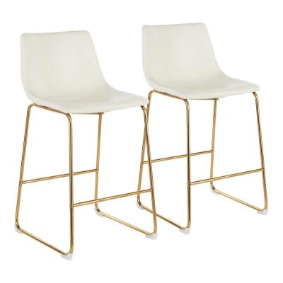 Duke 26 in. White Faux Leather and Gold Counter Stool (Set of 2)
