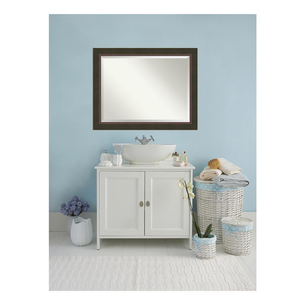 Milano 47 in. W x 37 in. H Framed Rectangular Beveled Edge Bathroom Vanity Mirror in Dark Bronze