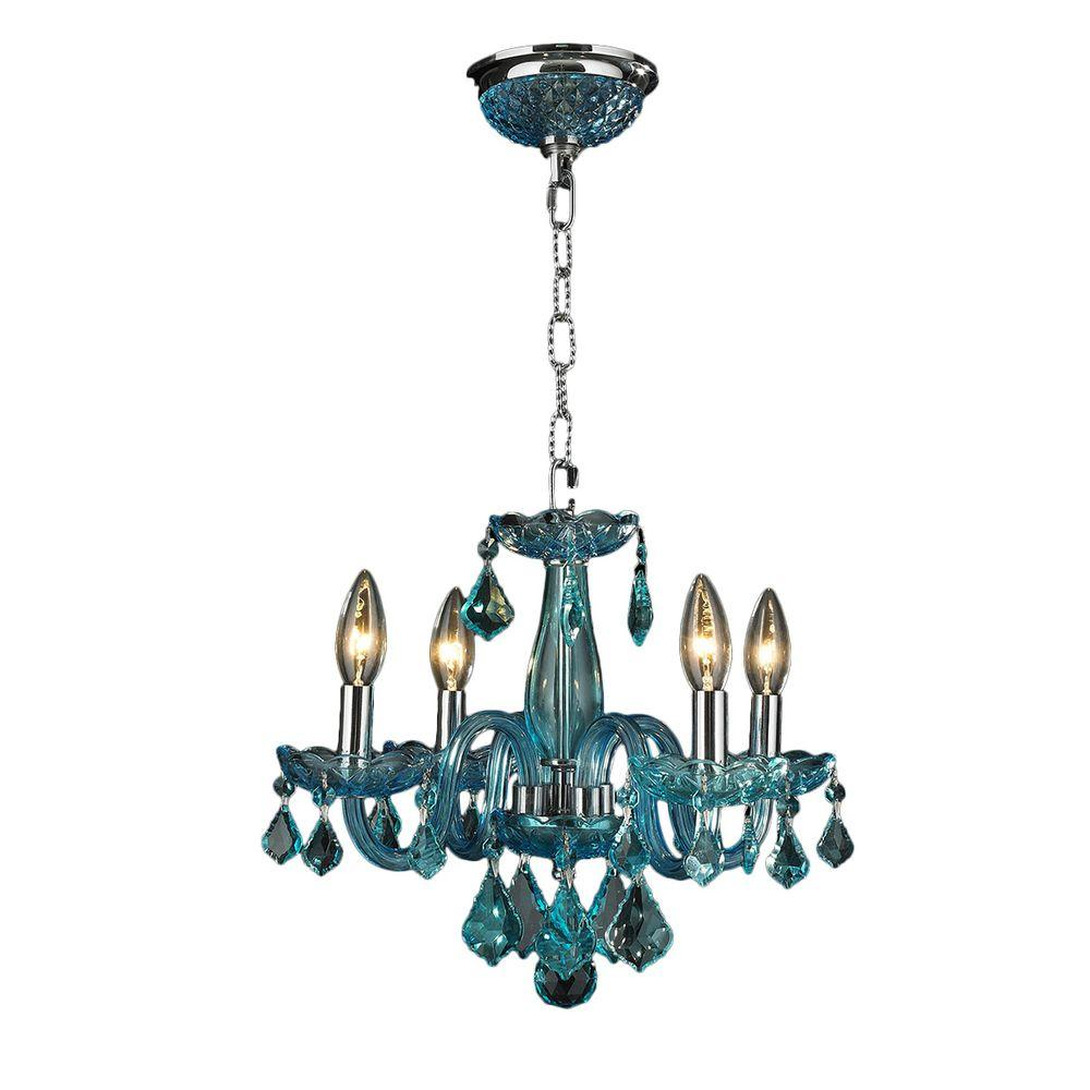 Worldwide Lighting Clarion 4-Light Chrome Crystal Chandelier