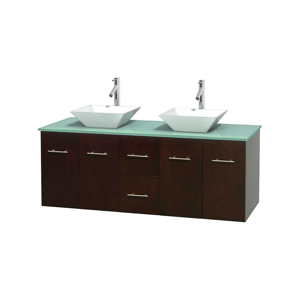 Wyndham Collection Centra 60 in. Double Vanity in Espresso with Glass Vanity Top in Green and Porcelain Sinks